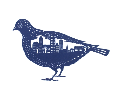 City Bird. Handmade papercut. Floating papercut on mountboard