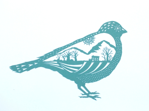 Country Bird. Handmade papercut. Floating papercut on mountboard