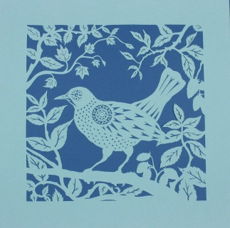 Blackbird in Blackberries. Handmade papercut, 40cm x 40cm