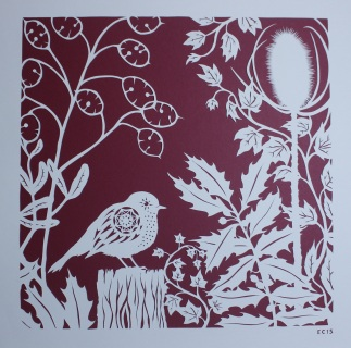 Robin in Winter Foliage. Handmade papercut, 40cm x 40cm
