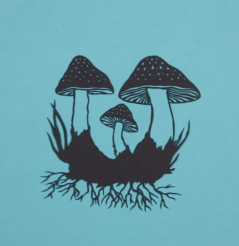 Mushrooms 2. Handmade papercut. Floating papercut on mountboard