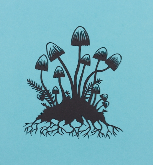 Mushrooms 1. Handmade papercut. Floating papercut on mountboard