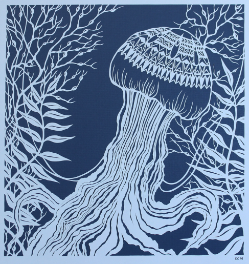 Jellyfish in Seaweeds, 2016. Handcut papercut, 40cm x 41cm