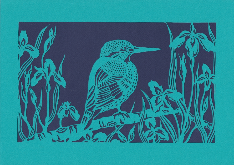 Kingfisher in Flag Irises, 2016