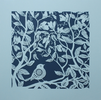 Small Bird and Sweet Peas. Handmade papercut, 40cm x 40cm