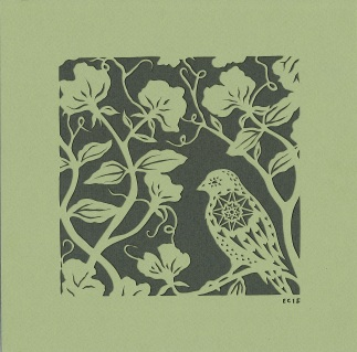 Small Sparrow and Sweet Peas. Handmade papercut, 20cm x 20cm, commission