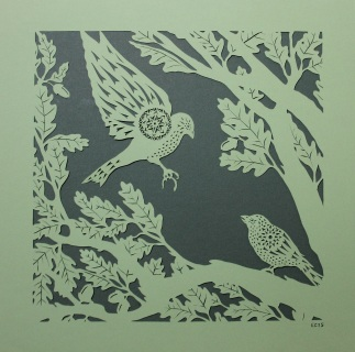 Sparrows in Oak Tree. Handmade papercut, 40cm x 40cm