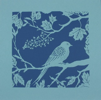 Swallow in Sycamores. Handmade papercut, 40cm x 40cm