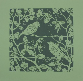 Sparrows in Sweet Peas. Handmade papercut, 40cm x 40cm