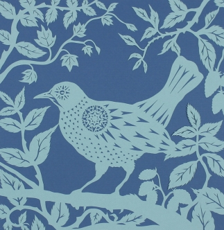 Blackbird in Blackberries, 2015. Handmade papercut.