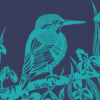 Kingfisher in Flag Irises, 2016. Handmade papercut.