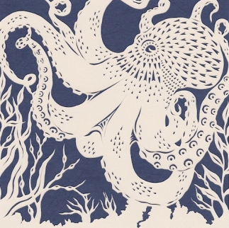 Small Common Octopus, 2016. Handmade papercut.